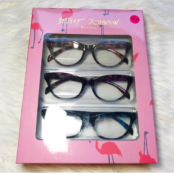 fdf04899bd29 NEW Betsy Johnson Reading Glasses +2.00 Blue Pink
